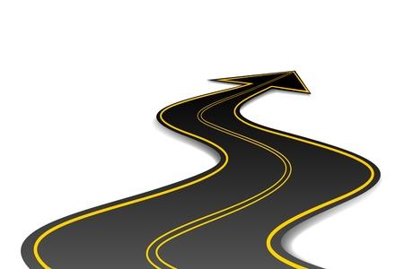 ilustracja z drogi asfaltowej w kształcie strzałki Ilustracje wektorowe
