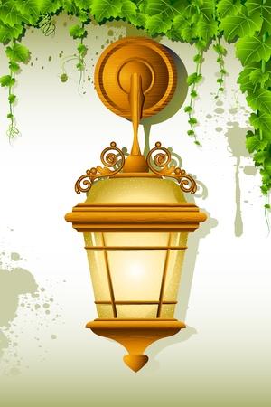 Ilustración de vieja lámpara colgada en la pared con creeper