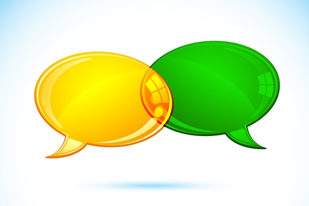 text messaging: illustration of pair of chat bubble on abstract background