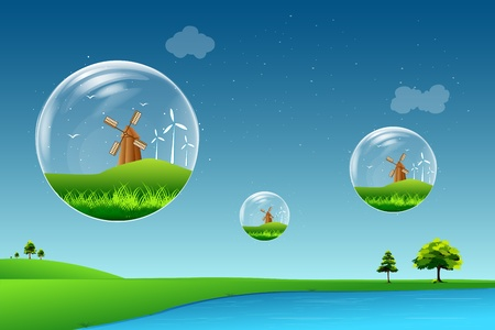 illustration of windmill floating in bubble on beautiful landscape Vector