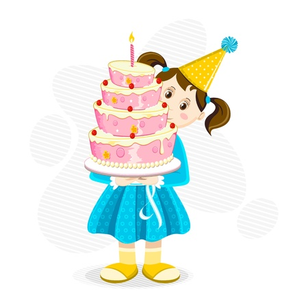 illustration of girl holding birthday cake on abstract background Vector
