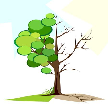 dry tree: illustration of tree half full of green leaf and half dry