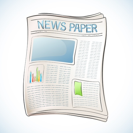 journalist: illustration of business newspaper on abstract background