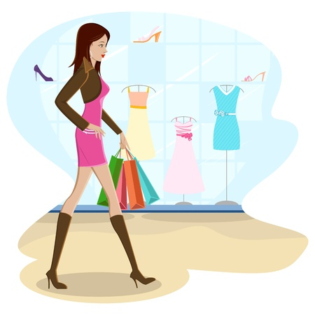 happy shopper: illustration of lady with shopping bag walking on street