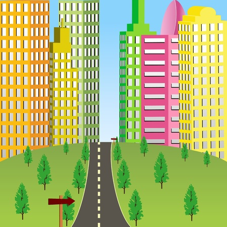 towards: illustration of road going towards tall tower