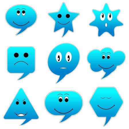 illustration of speech bubble with different emotion Vector