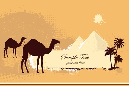 illustration of pair of camel on desert with pyramid and palm tree illustration