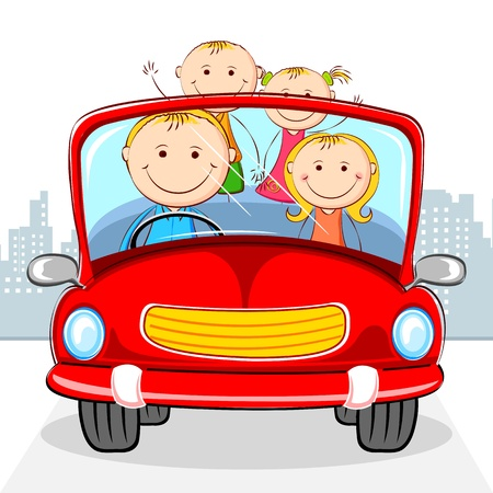 family vacations: illustration of family travelling in car on cityscape backdrop Illustration