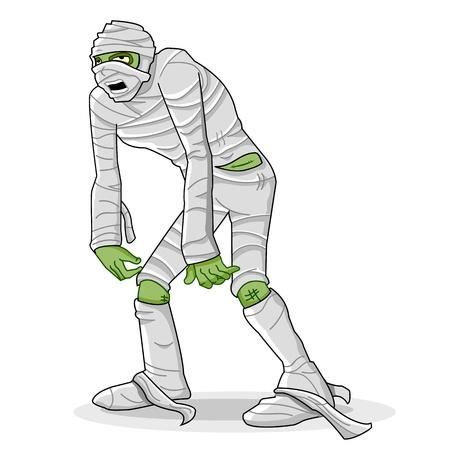 ghost face: illustrazione della mummia avvolto con benda su sfondo bianco Vettoriali