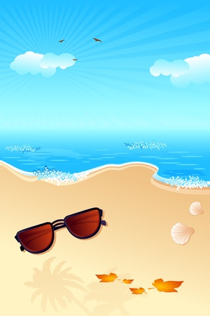 illustration of sun glasses with maple leaf on sea beach Stock Vector - 10170981