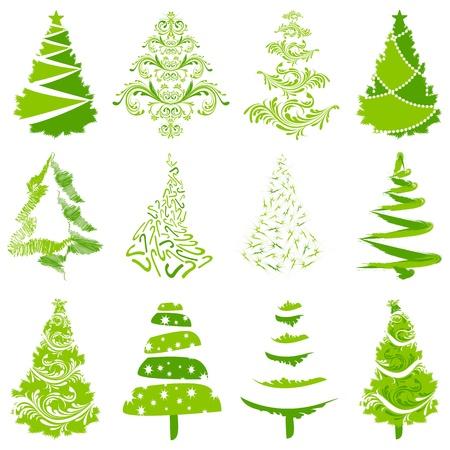 fir cone: Ilustraci�n del conjunto de �rboles de Navidad de estilo diferente Vectores