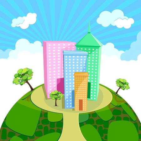 illustration of office building on natural landscape Stock Vector - 10170977