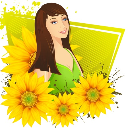 illustration of lady with sunflower on abstract background Stock Illustration - 10170979