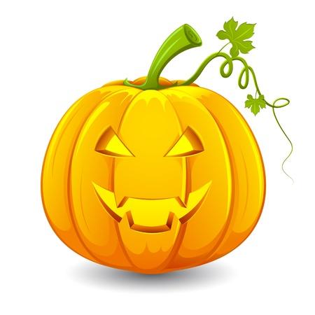 jack o lantern: illustration of smiley face carved in pumpkin for halloween