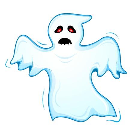 Ilustraci�n del fantasma volando sobre fondo blanco
