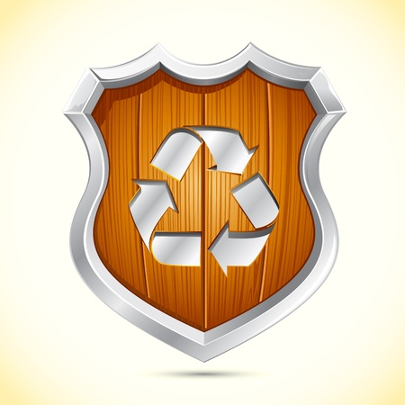 scrap metal: illustration of recycle symbol on wooden shield