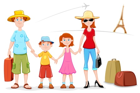dad daughter: illustration of family standing in front of eiffel tower Illustration