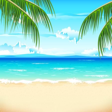 zomer: illustratie van zee, strand met palmbomen