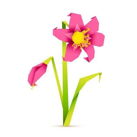 Ilustración de flores frescas en estilo origiami sobre fondo abstracto
