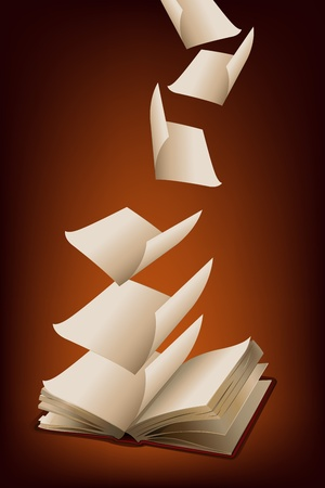 illustration of pages flying from open book on abstract background illustration