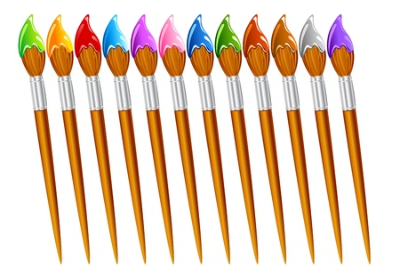 wood craft: illustration of set of paint brush with different color