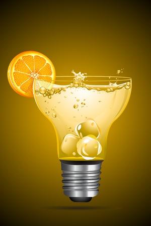 illustration of cocktail with orange slice in bulb shape glass