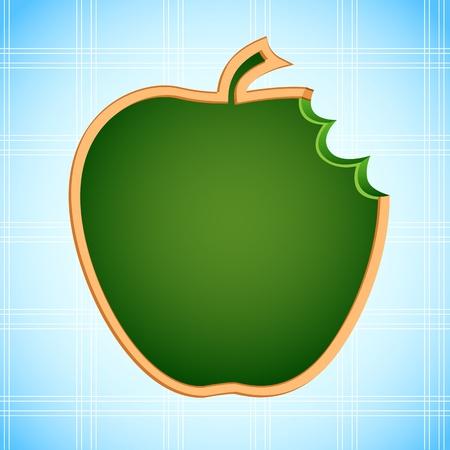 apple bite: illustration of apple shape chalk board on abstract background