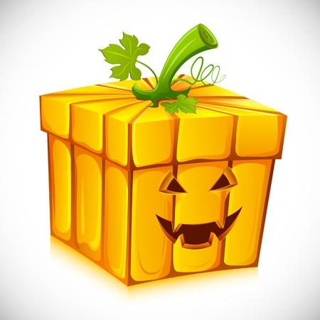 illustration of pumpkin shape gift box for halloween illustration