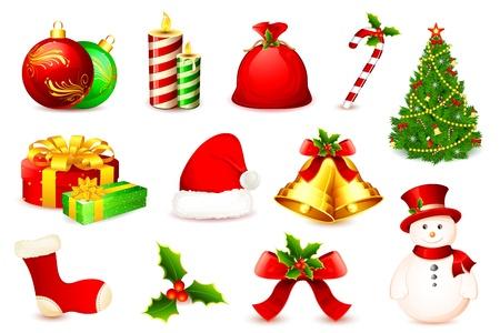 white stockings: illustration of christmas ball,tree,bell,santa cap and snow man