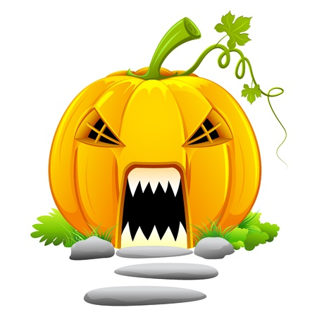 illustration of haunted house in shape of pumpkin for halloween Stock Vector - 10225028