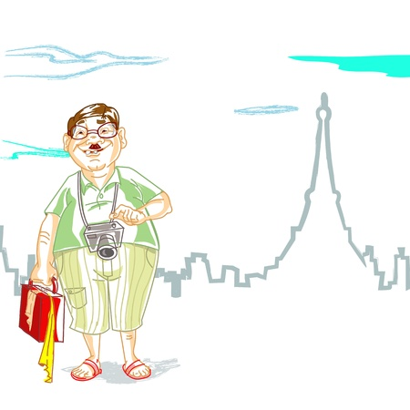 villager: illustration of fat tourist with luggage in front of eiffel tower