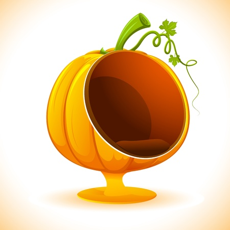 gourd: illustration of sofa in shape of pumpkin on abstract background