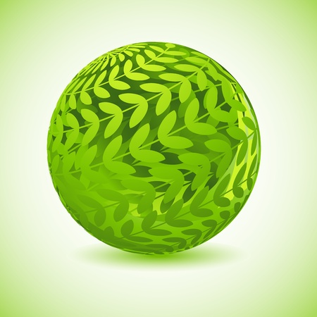 wellness environment: illustration of glossy globe made of green leaf