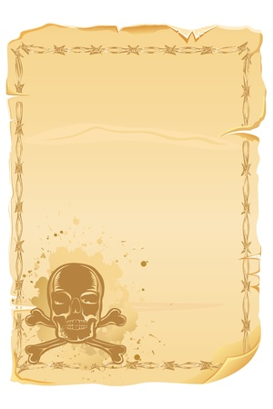 illustration of antique letter with grungy skull Stock Vector - 10237921