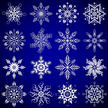 illustration of set of different shape snow flakes illustration