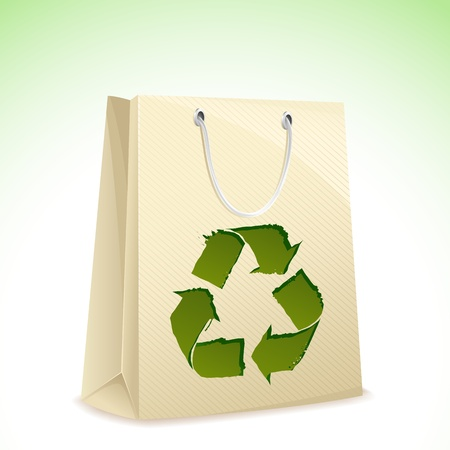 illustration of carry bag with recycle symbol on it Vector