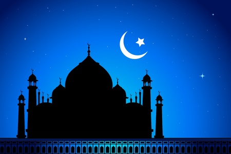 mosque illustration: illustration of eid mubarak card with mosque in night view