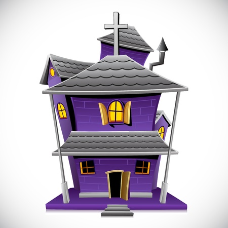 illustration of haunted house in night view Vector