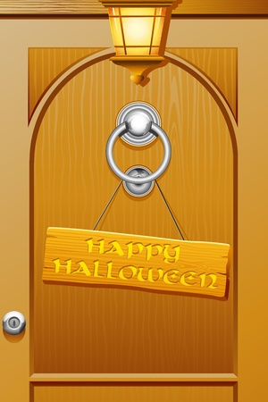 illustration of happy halloween tag hanging on door Stock Vector - 10281470
