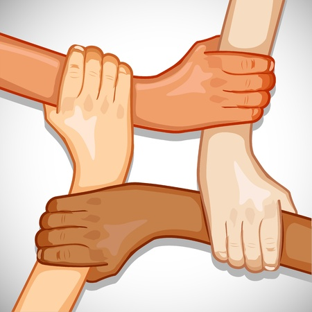 multiethnic: illustration of hands holding each other showing unity