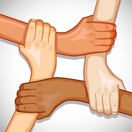 Ilustración de manos sosteniendo otra mostrando unidad