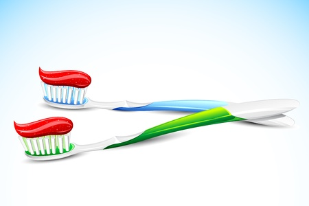 illustration of tooth paste on tooth brush on abstract background