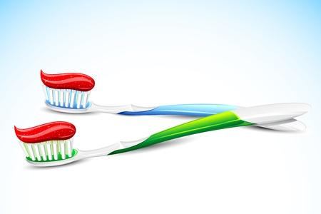 pasta dental: Ilustración del diente pegar el cepillo de dientes sobre fondo abstracto Vectores