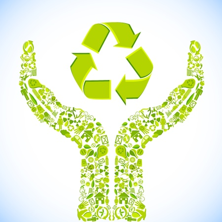 environment friendly: illustration of hand made of recycle symbol