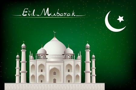 illustration of eid mubarak card with mosque in night view Vector
