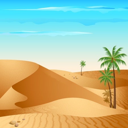 illustration of desert with palm tree in day light