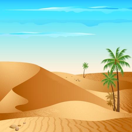 illustrazione del deserto con la palma nella luce del giorno