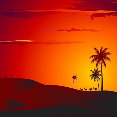 illustration de vue sur le coucher du désert avec palmier