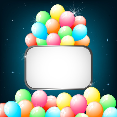 illustration of colorful balloons on abstract shiny background Ilustrace