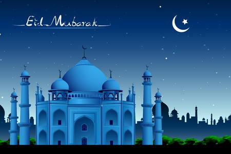 taj: illustration of Taj Mahal in night view on eid mubarak card